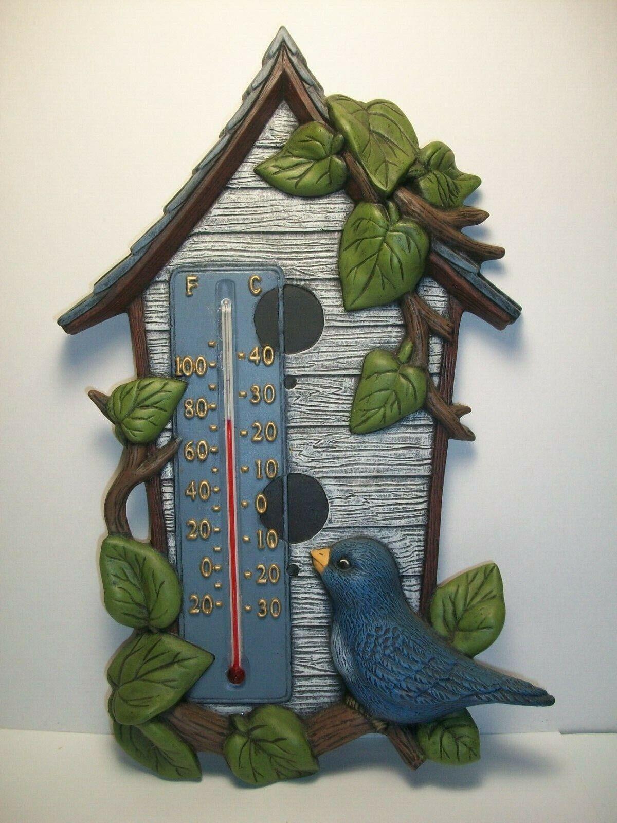 Bluebird / Bird House Themed Thermometer ~ 3-D Wall Plaque ~ 13