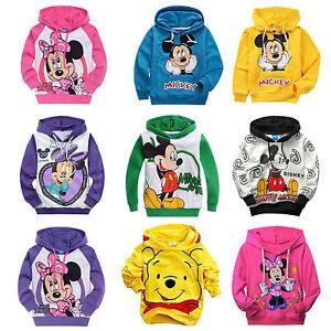 bambini-ragazzi-Mickey-Minnie-Felpa-con-cappuccio-manica-lunga-casuale-maglione