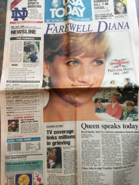 Princess Diana Death Newspaper Coverage Usa Today September 5 7