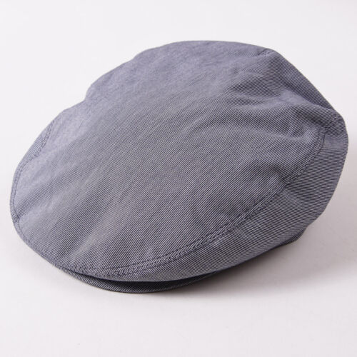 60cm NWT $495 BRIONI Indigo Blue-White Striped Denim Cotton Driving Cap Hat XL