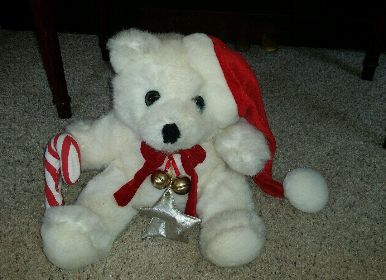 Rare plush Burdines 1991 vtg holiday white 16  bear Santa  candy cane Bells  G7
