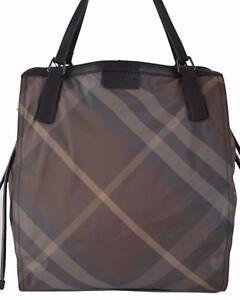 73d88b1d2657 NEW Burberry Birch Grey Nylon Nova Check Packable Purse Bag Tote ...