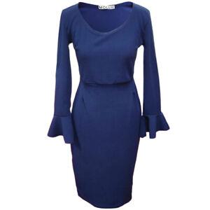 Women-039-s-Ladies-Frilled-Cuff-Bodycon-Dress-8-14-LongLength