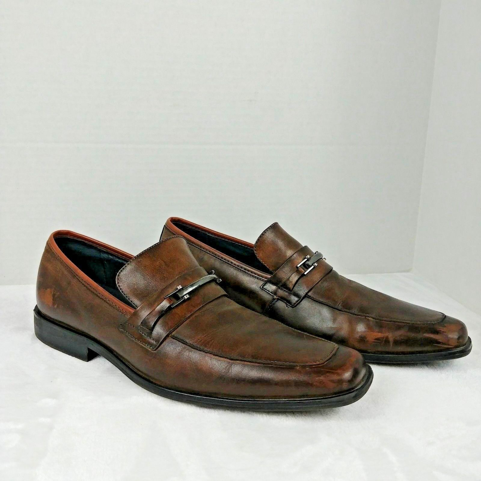 Steve MADDEN Men's Size 10.5 Brown faux Leather Slip On Loafers shoes