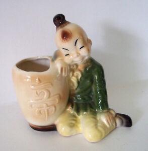 Vintage mid century pottery signed Royal Copley Asian china planter vase!