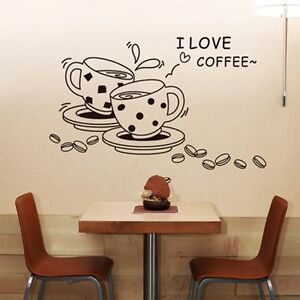 Image is loading Personalized-Wall-Stickers-Kitchen-Wall-Decals-Home-Decor-  sc 1 st  eBay & Personalized Wall Stickers Kitchen Wall Decals Home Decor Coffee Cup ...