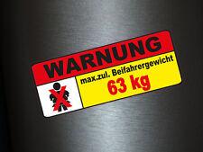 1 x Aufkleber Beifahrergewicht 63kg Autoaufkleber Sticker Fun Gag Tuning Shocker