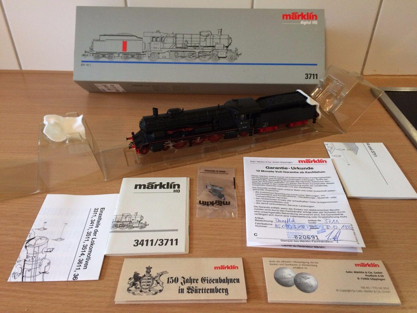 h0 3711 locomotiva con tender BR 18.1 delle DB/digitale/NUOVO IN CONFEZIONE ORIGINALE