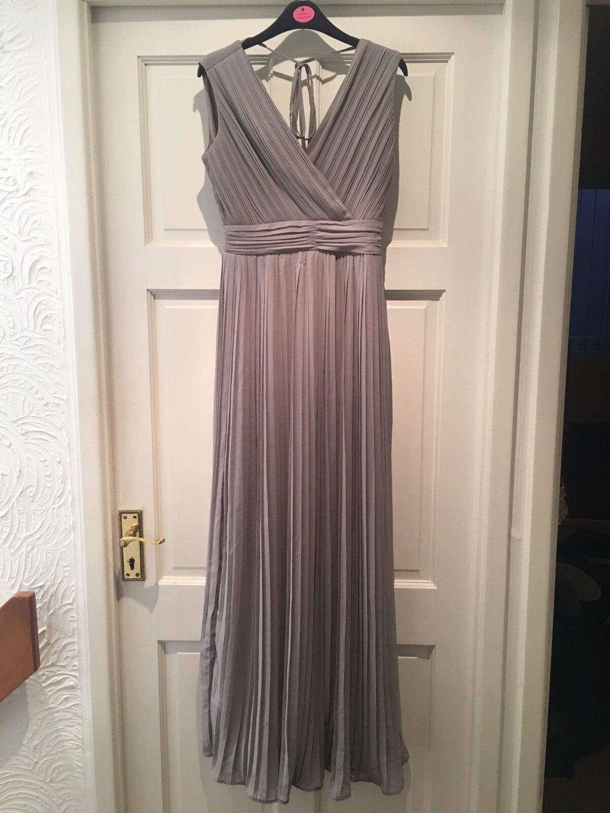 TFNC London Grey Floor Length Pleated Dress - Size 8