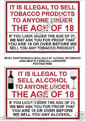 Venditore 2 x A4 segni illegale la vendita di tabacco alcol a meno di 18 anni di età