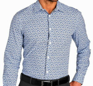 Perry-Ellis-Mens-L-S-Shirt-Large-Slim-Fit-Cerulean-Blue-Mini-Floral-Pattern-NWT