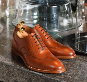 FAIT-MAIN-homme-Tan-Couleur-Chaussures-en-cuir-Hommes-De-Bout-D-039-Aile-Dress-Formal-Lace-Up