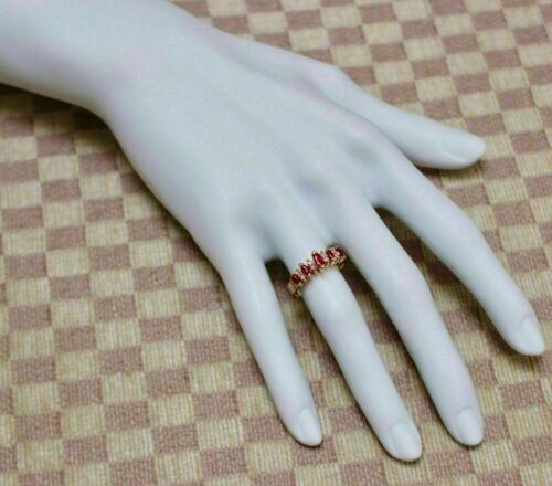 2Ct Marquise Cut Red Ruby Women/'s Wedding Band Ring 14K Yellow Gold Finish