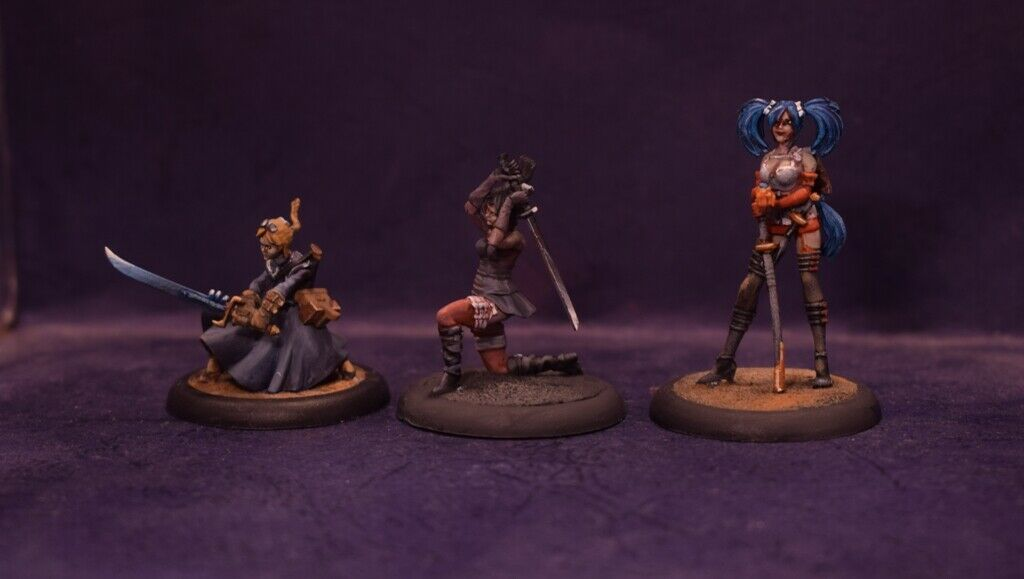 Malifaux Hired Swords figure 3x PAINTED
