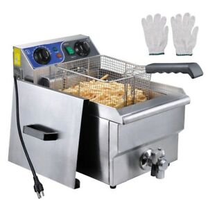 11 7l Electric Deep Fryer Drain Timer Stainless Steel Home Commercial 1500w Ebay