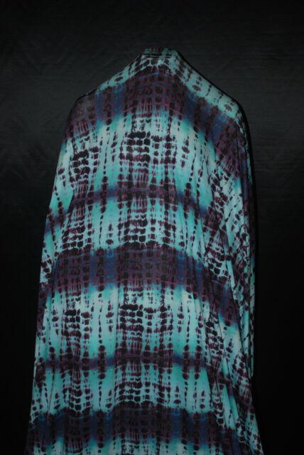 5924307ffbd Viscose Spandex Jersey Knit Fabric Croc Print Tie Dye Kind Aqua Plum Combo  for sale online   eBay