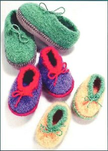SALE - SAVE 50% FELT CHILDREN'S SLIPPERS to CROCHET by FIBER TRENDS