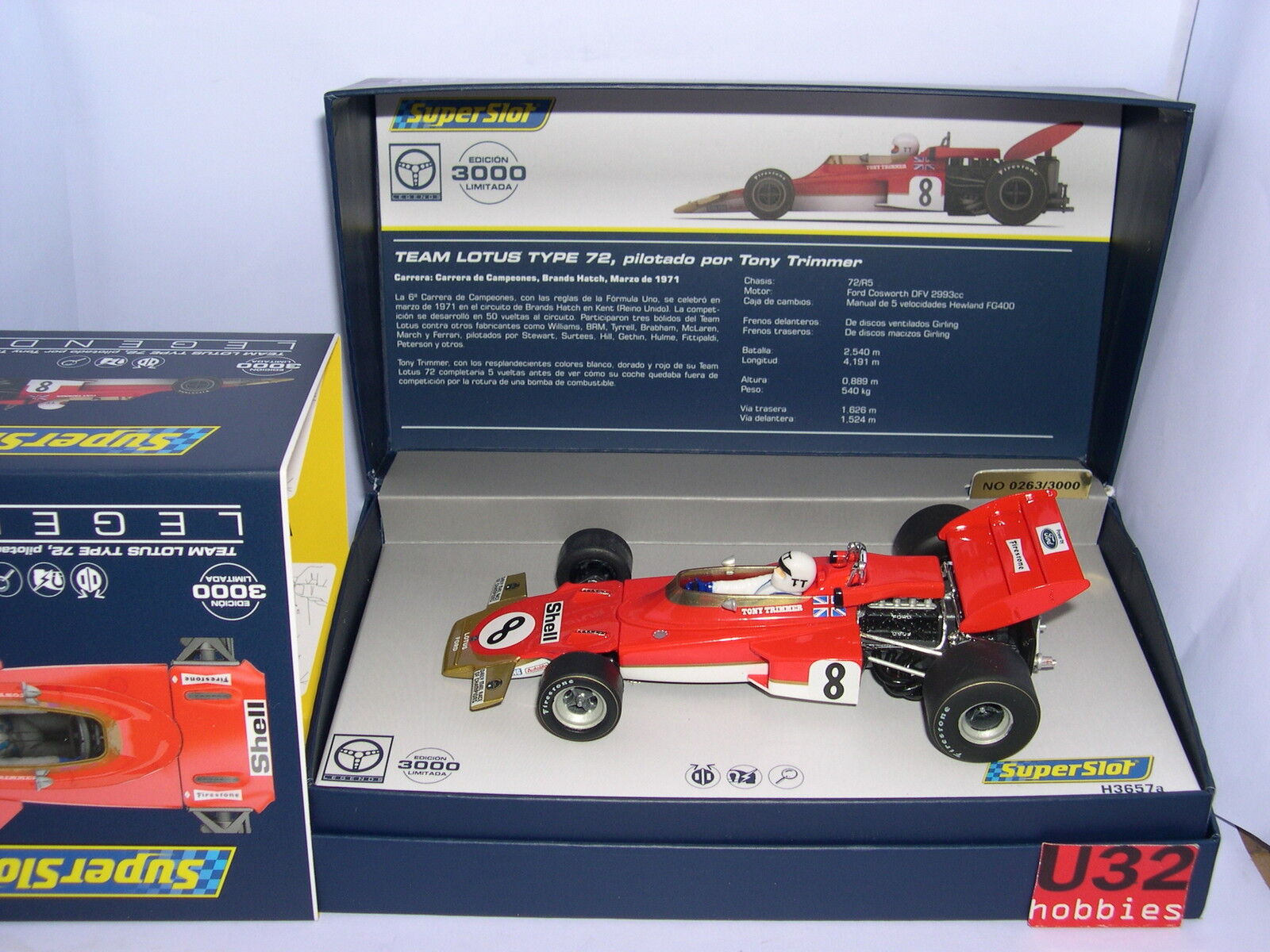 SUPERSLOT LEGENDS H3657A LOTUS TYP 72    8 TONY TRIMMER SCALEXTRIC UK MB 2188e8