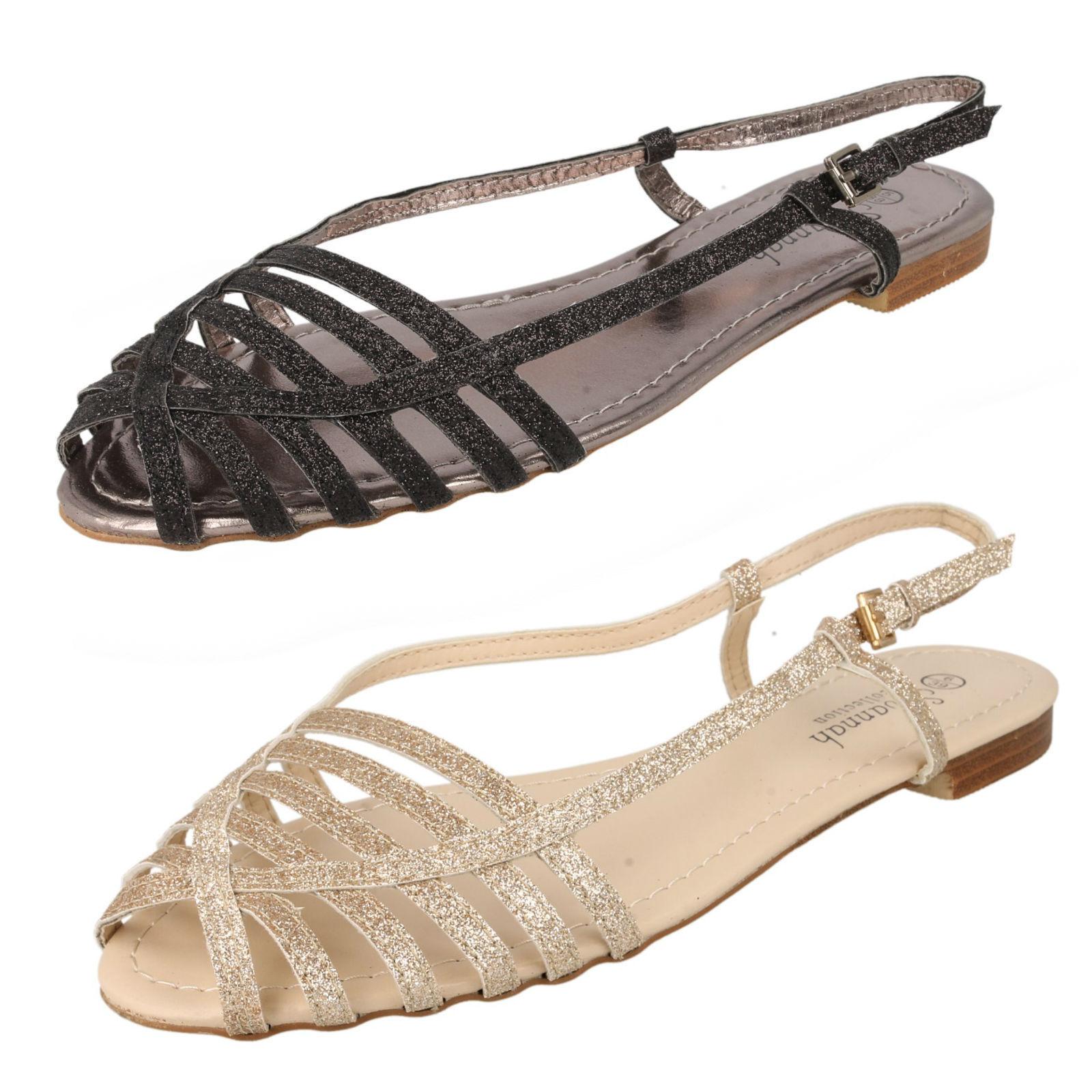 SALE NOW Ladies Savannah Glitter F0881 ankle buckle strap sandal F0881 Glitter e9ad1b