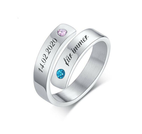 ID anillo de acero inoxidable en plata brillante con grabado según preferencias con pedrería