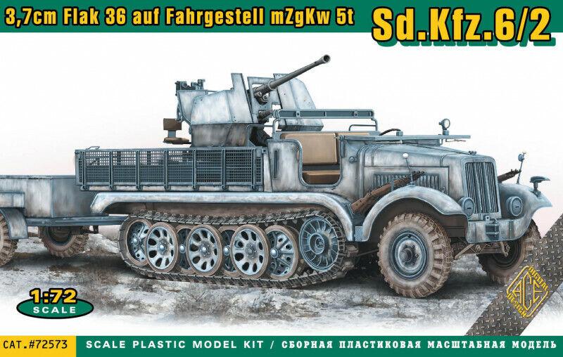 ACE 1:72 Plastik NEU 3,7cm Flak.36 Flak mit Sd.Ah.52