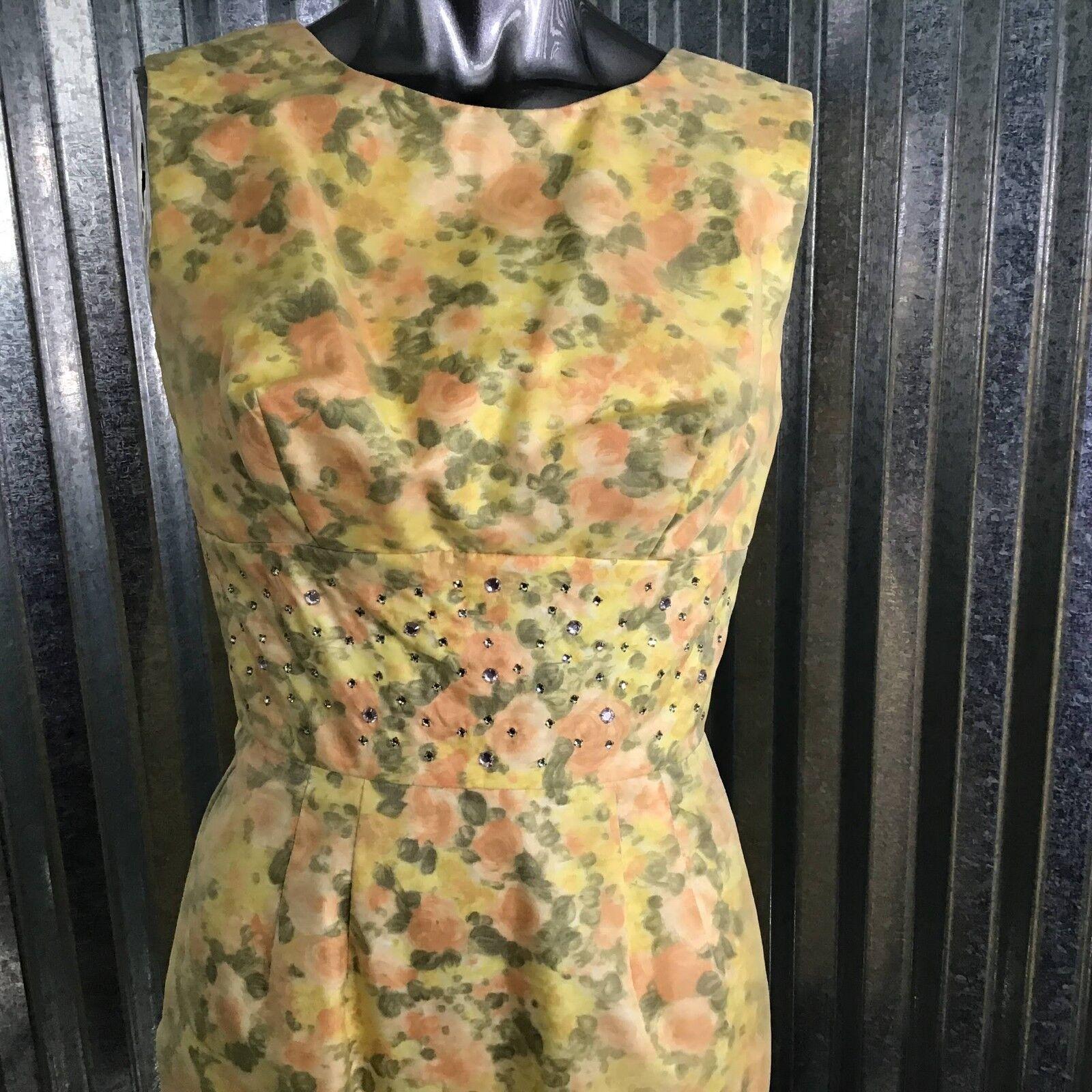 1950 Dress Overlay Floral Gelb Dramatic Back Rhinestone Embroider Waist Sz 12