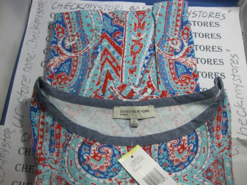 NWT Jones New York Sport Cotton jersey 3//4 sleeve Chambray Trimmed Tee Top