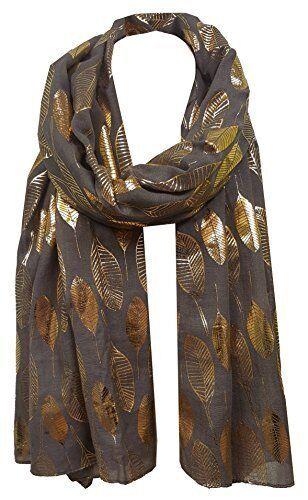 Moonlit Gold Foil Feather Design Scarf For Ladies Women Soft Shawl Wrap Scarves