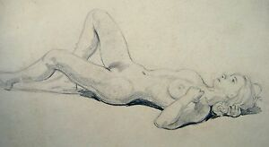 FIGURE-STUDY-A-RECLINING-NUDE-WITH-HAND-BEHIND-HAIR-PENCIL-ENG-SCH-C1930