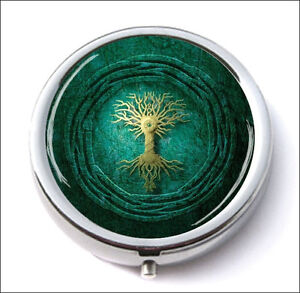 TREE-OF-LIFE-GOLD-AND-GREEN-DESIGN-PILL-BOX-ROUND-METAL-vgy6Z