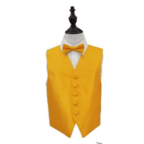 DQT Woven Plain Solid Check Sunflower Gold Boys Wedding Waistcoat /& Bow Tie Set