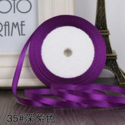 Satin Ribbon Double Sided Full Reel 22 Metre Rolls 16 Colours 6mm