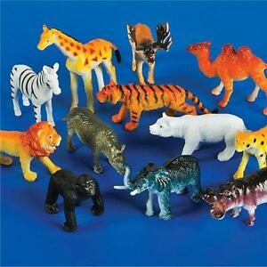 12 PLASTIC ZOO ANIMALS LION, ZEBRA, ELEPHANT, TIGER, ETC GOODY BAGS, CARNIVAL