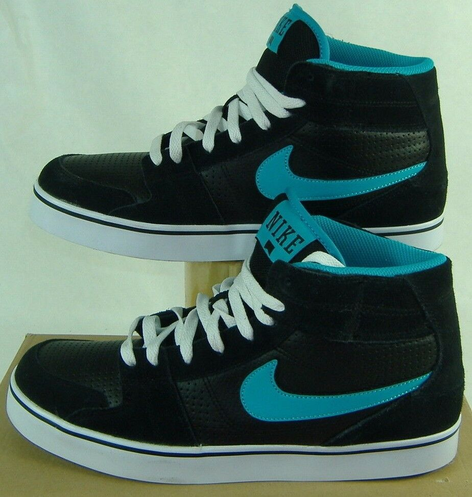 New Mens 12 NIKE Ruckus Mid Black Blue Suede Basketball Shoes 75 387174-041
