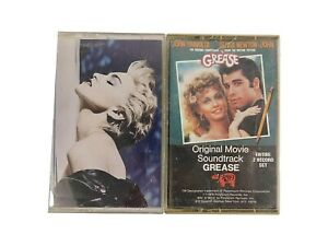 Lot 2 Vintage Music Tape Cassettes MADONNA TRUE BLUE & GREASE Soundtrack