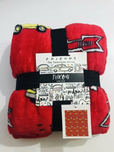 Primark Friends Central Perk Throw Red Soft Fleece Bed Home Blanket 120cm X150cm