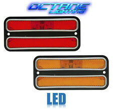 68-72 Chevy GMC Truck Front & Rear Side LED Amber Red Marker Light w/ Chrome Pr