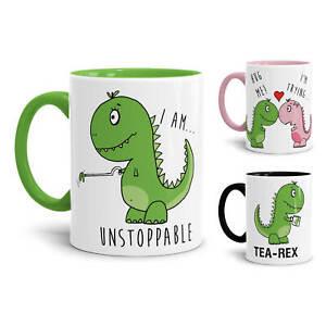 Dino-Tasse-034-T-Rex-034-verschiedene-Sprueche-und-Motive-Liebe-Lustig-Cool