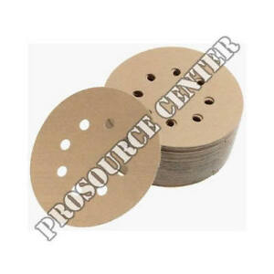 "Premium Gold  5/"" 8 Hole Gold Sanding Discs  Hook /& Loop 120 Grit 50 Discs per Bo"