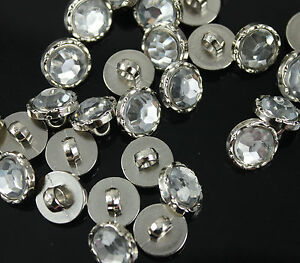 100 Crystal Clear Acrylic Rhinestone Sewing Shank Buttons for Sewing Craft DIY