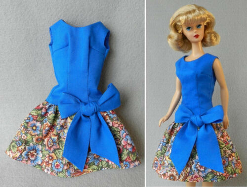 Barbie fashion HANDMADE vintage REPRO #1651 Beau Time Best Bow FLORAL /& BLUE