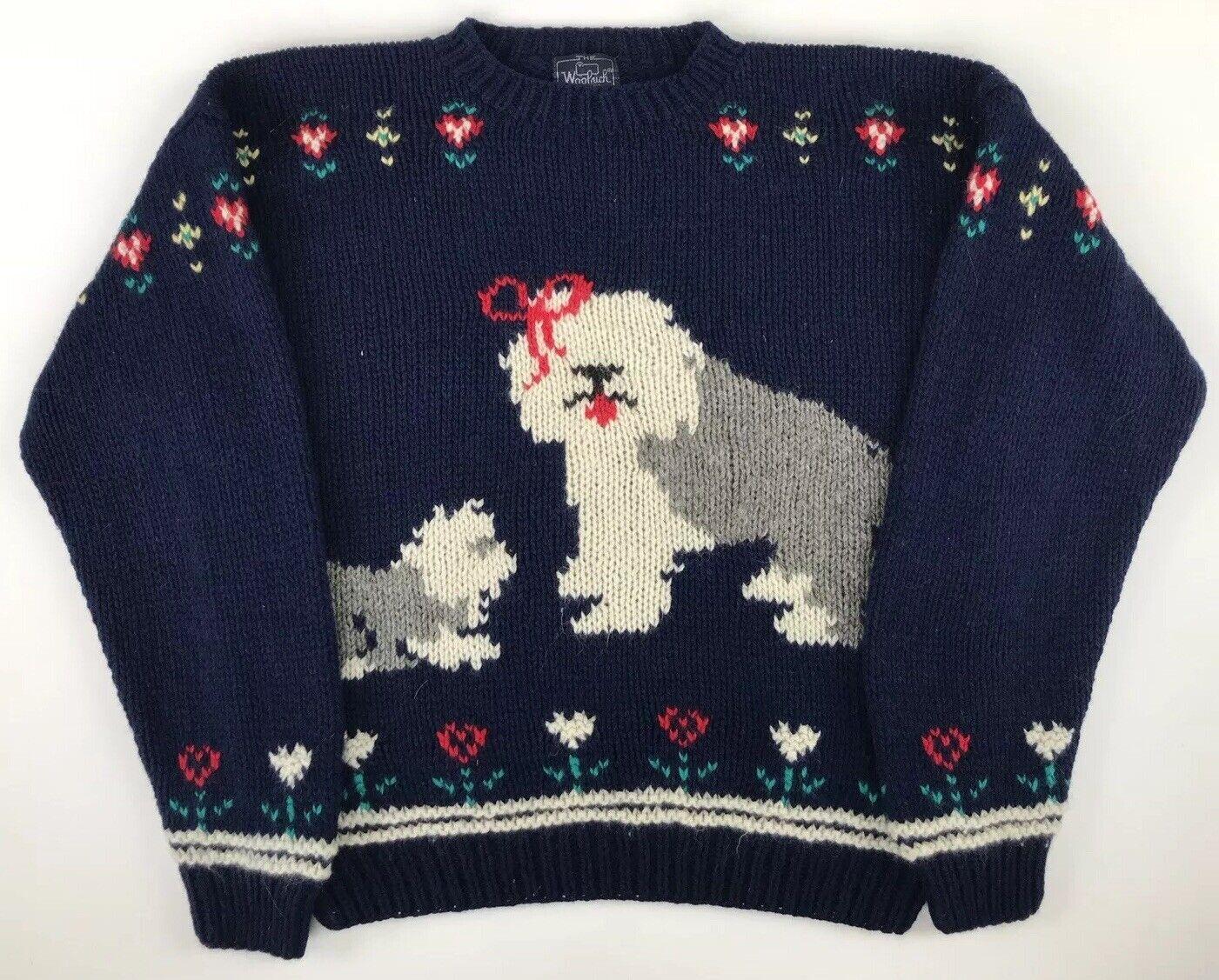 Vtg Wool Woolrich Woman Sweater Sheep Dog Navy bluee Women's Size XL