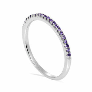 Sterling-Silver-amp-CZ-Crystal-1-5mm-Half-Eternity-Stacking-Ring-Size-J-S