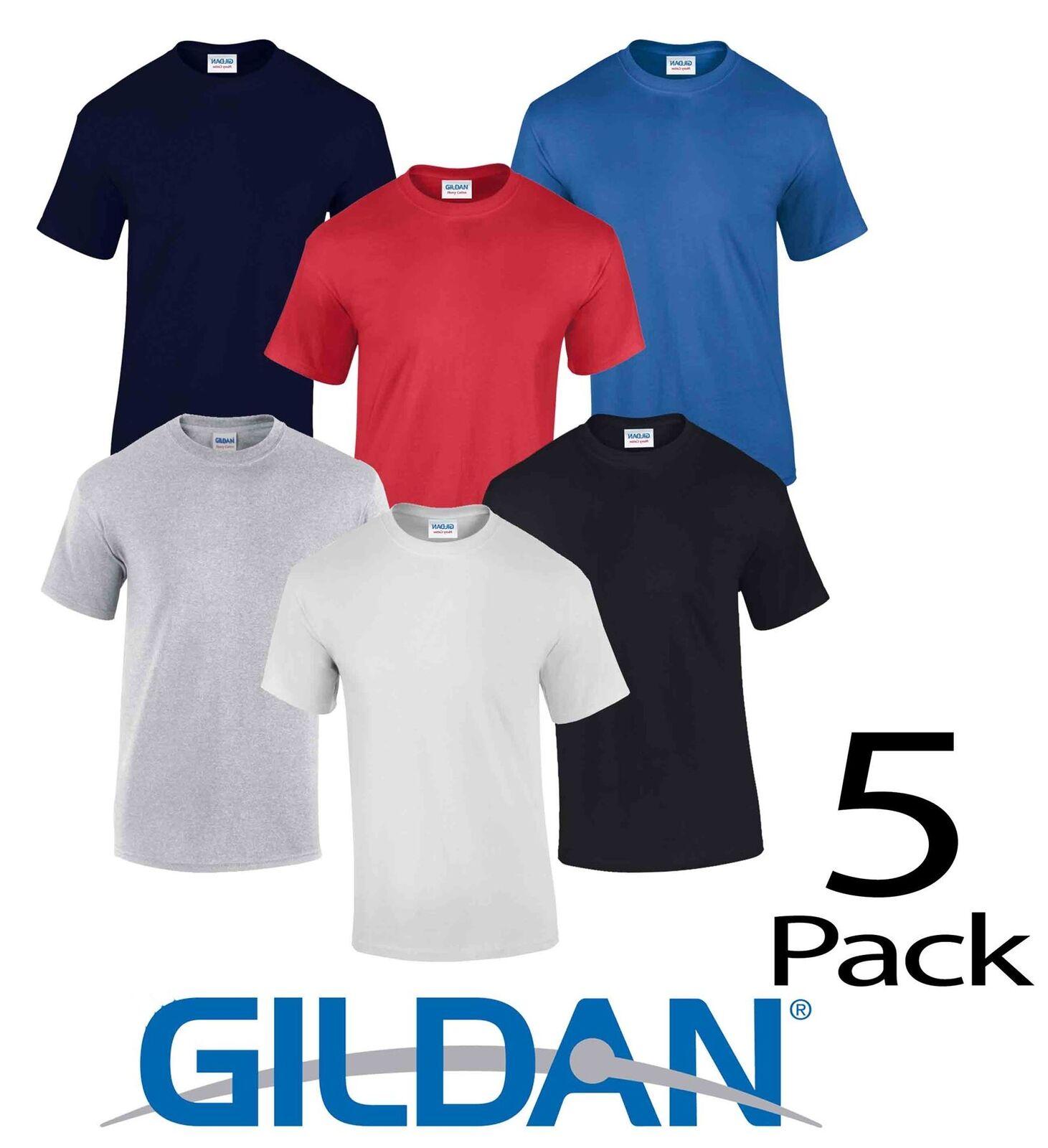 5 T-shirt Pack Uni GILDAN T-shirt 5 homme coton épais à manches courtes  Plain Tee T Shirt 5de568 cc4e11ef215f