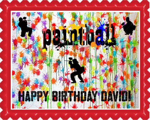 PAINTBALL Edible Birthday Cake Topper OR Cupcake Topper