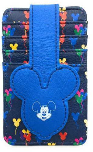 NEW Disney Parks Mickey Balloons Ears Credit Card Holder ID Wallet Slim Blue