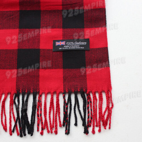 Details about  /Men/'s 100/% CASHMERE Red//Black Square check tartan Plaid Scarf MADE IN SCOTLAND