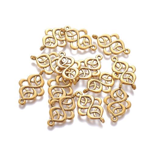 20pcs Tibetan Alloy Filigree Rhombus Charm Connectors 1//1 Loop Spiral Link 28mm
