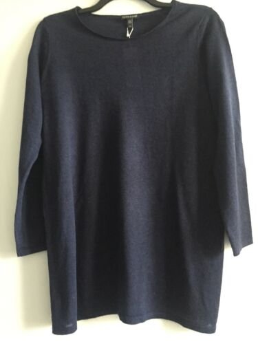 NWT $188 Eileen Fisher MIDNIGHT Fine Tencel Alpaca Round Neck Tunic L XL
