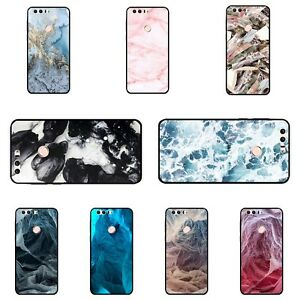 new arrivals 5b8a7 01a54 Case For Huawei Honor 8 Soft Black TPU Back Covers Protective Marble ...